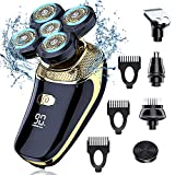 Bald Head Shavers for Men-Everfun Electric Razor for Men with LED Display, Faster-Charging 5D Floating Waterproof Electric Shaver for Men with Hair Clippers,Nose Hair Trimmer Gold