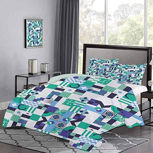 Tagesdecken Bettdecke Geometrische Moderne Kunst Design in den sechziger Jahren Pop Art Shapes Kollektion Sommerbettwäsche Sehr weich & glatt Meergrün Blau Schwarz