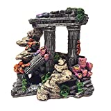 Evergreen Simulation Resin Roman Column Aquarium Decorations Fish Tank Rock Ruins Plants Decor Aquarium Decoration Ornaments