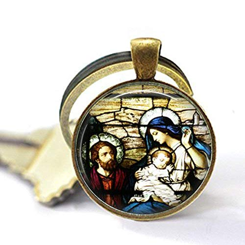 Virgen María y Jesús, estilo de vidriera, ventana de iglesia, cristiano, regalo de fe, collar, llavero de regalo