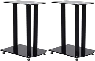 vidaXL 2x Speaker Stands with Round Spikes Stylish Elegant Design Firm Support Holder Platform Simple Style Functional Bla...