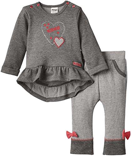 Dirkje Baby - Mädchen, Unterwäsche-Set, 2-pce babysuit, Grau (gr.mêlée/dark Grey/bright Pink), 12 Monate (Herstellergröße: 80)