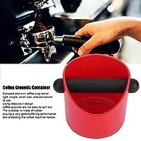 コーヒー挽いた容器、滑り止めのポータブル耐久性のあるコーヒーノック収納ボックス、醸造されたコーヒー挽き粉を保持するホームカフェコーヒーアクセサリー用(Mini straight mouth【Red】)