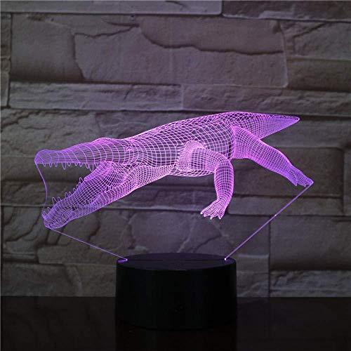 3D Luz De Noche Led LED Luz de Noche Alligator fast delivery Decoración Del Hogar Regalo De Cumpleaños Para Niños Habitación De Niños Con carga USB, control táctil de cambio de color colorido