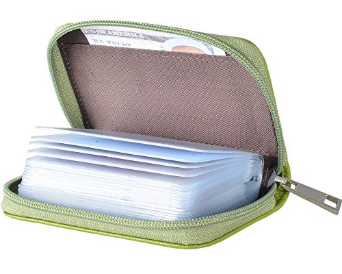 Easyoulife Genuine Leather Credit Card Holder Zipper Wallet With 26 Card Slots (Green)