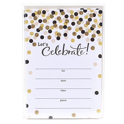 Hallmark Party Invitations (Let's Celebrate with Gold and Black Dots, Pack of 20)