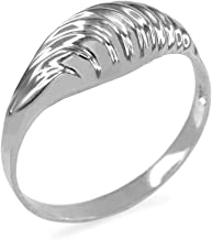 Modern Contemporary Rings Glamorous Ribbed Dome Ring in 925 Sterling Silver