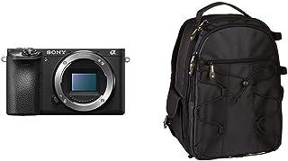 Sony Alpha ILCE6500B - Cámara (24.2 MP 11fps 5 Ejes AF de 0.05 s con Montura E 425 Puntos de Enfoque Pantalla táctil) Color Negro + AmazonBasics - Mochila para cámara réflex y Accesorios