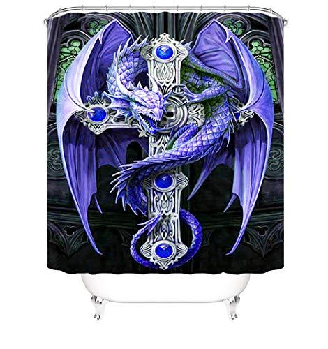 Bath Curtain Polyester Waschbar Stoffe Antischimmel Drachen Duschvorhang Motiv Mit Duschvorhang Ring Für Badezimmer Badewanne Dusche 200 X 180 cm