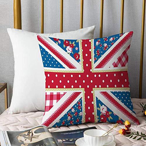 Creativo copricuscino,Shabby Chic Decor, bandiera britannica carina stile floreale retrò pois cultura country ispirato, multico,Stampate Federe Cuscino Divano Decorazione Cuscino Copertina -45 x45cm