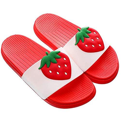 Pantofole Ragazzi e Ragazze Scarpe da Spiaggia e Piscina Donna Ciabatte da Doccia Sandali Antiscivolo,Rosso-Fragola,35-36 EU/Etichetta 36-37