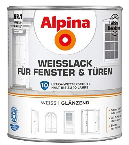 ALPINA Weißlack für Fenster und Türen 2 Liter Farbe Weiss Glänzend