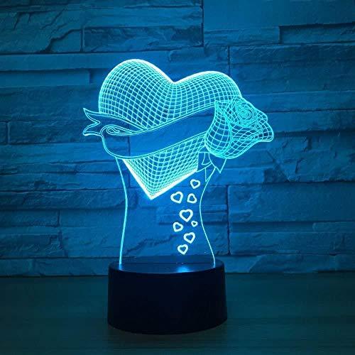 Lámpara de ilusión 3D Amor romántico flor rosa Luz de nocheAdecuado para Niños Familia Amigos Cumpleaños San Valentín Los mejores regalos para Navidad USB7 colores(control remoto)