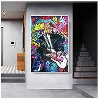 ビッグサイズポップストリートグラフィティウォールアートキャンバス絵画抽象マンロックシンガーアートキャンバスプリントポスター写真家の壁の装飾60x80cm(24x32in)