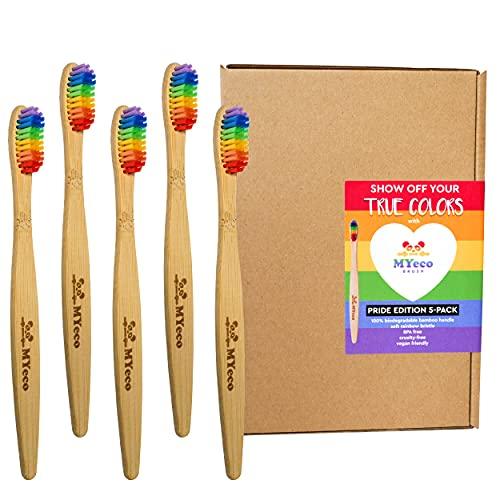 Bambus Zahnbürsten Weiche Regenbogenborsten 5er Pack, Holz Bambuszahnbürste MyEcoBrush, 100% Vegan, BPA Frei, Nachhaltig, Biologisch Abbaubar, Öko Bamboo für Weiße Zähne, Umweltfreundliche Verpackung
