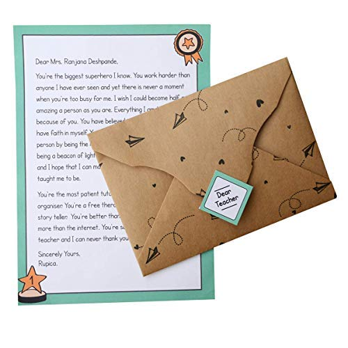 Party Hub - Thank You Letter for Teacher- Special Letter to Gift on Teacher's Day