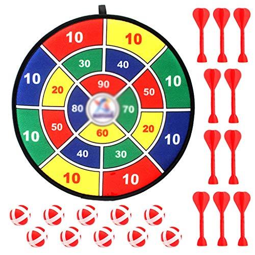 YDHWY Conjunto de Tablero de Dardos con 10pcs Dart Ball Safe Board Games para niños 14.2 Pulgadas Tela de Tela Tablero Dart Board Raining Correa para niños Niñas