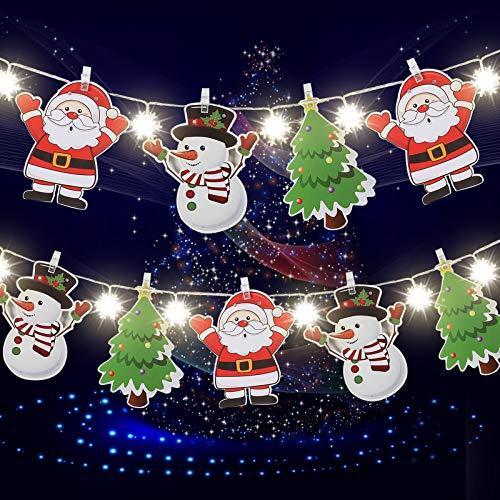 Weihnachtsmann, Schneemann, Weihnachtsbaum Banner und Schneeflocke 6,6 Feet Lichterketten für Weihnachten Garten Terrasse Schlafzimmer Party Dekor Indoor Outdoor Feier Beleuchtung, Warmweiß