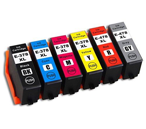 1 set di cartucce d'inchiostro compatibili con Epson 378 XL/478 XL nero/ciano/magenta/giallo/rosso/grigio (C13T379D4010), ricambi per stampanti Epson Expression Photo HD XP-15000