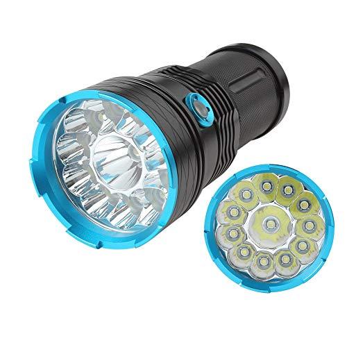 Tactica linterna led alta potencia militar 10000 lúmenes súper brillante 12 x XM-L T6 LED Linterna con 3 modos para interior y al aire libre(Batería no incluida)
