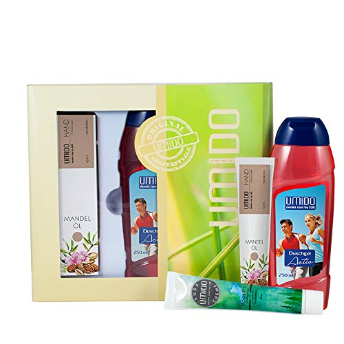 UMIDO Beautyset Fuß-Creme 45 ml Latschenkiefer, Duschgel 250 ml Acitv & Hand-Lotion 45 ml Mandelöl - 2 x 45 ml – 1 x 250 ml + Geschenk-Box (6-BYS)