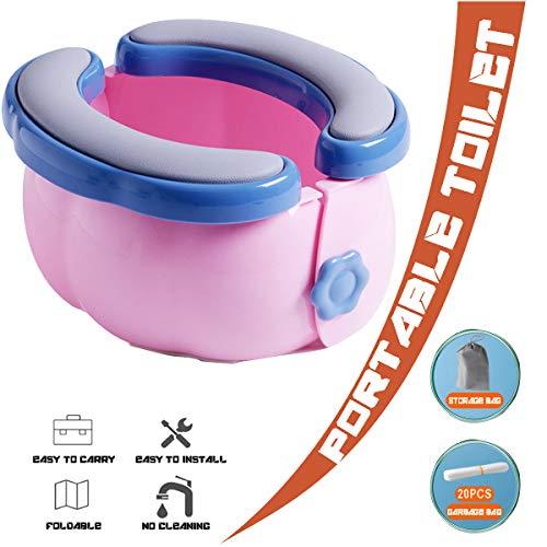 SCXLF Portatile Bambini Toilette, Vasino Pieghevole per Bambini con Custodia e 20 Sacchetti Monouso, Toilette da Campeggio per Escursioni Lunghe Gite Viaggi All'aperto e al Coperto,Rosa