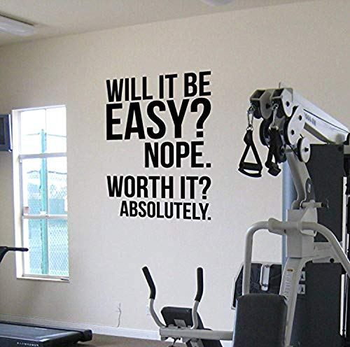 Worth It? Gym Wall Vinyl Decal - Motivational Quote Fitness Weight Loss Diet - Kettlebell Health and Fitness Spinning - Workout Boxing UFC Vinyl Decor - Sticker Home Art Print (w:15