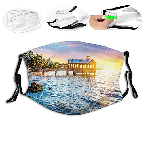 Pier at Beach in Key West Florida USA Tropical Summer Paradise,AntiPollutionDustHalfFaceMouthMaskWithFilterBreathableProtectiveFashionMasks