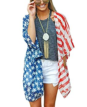 DDSOL Women s American Flag Kimono Cover up Beachwear Cardigan Loose Tops Shirt Blouse Red One Size