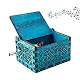 N\O Caja de Música de Manivela de Madera,Caja de Música de Madera Grabada Hecha a Mano Caja Musical Tallada Antigüedad Familiares, Amantes, Niños 6.4X5.2X4.2cm(Azul)
