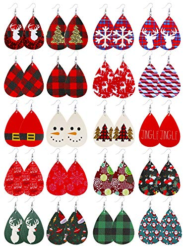 Christmas Earrings for Women Christmas Plaid Leather Earrings Dangle for Women Xmas Earrings Dangle Christmas Decorations Christmas Gifts for Women Girls 20 Pairs