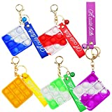 5 Mini Anti-Stress Hand Toys, Pop Push It Bubble Fidget Sensory Keychain with Metal Jingle Bell Keychain and Wrist Straps, Office Desk Anxiety Stress Reliever Toy for Kids and Adults