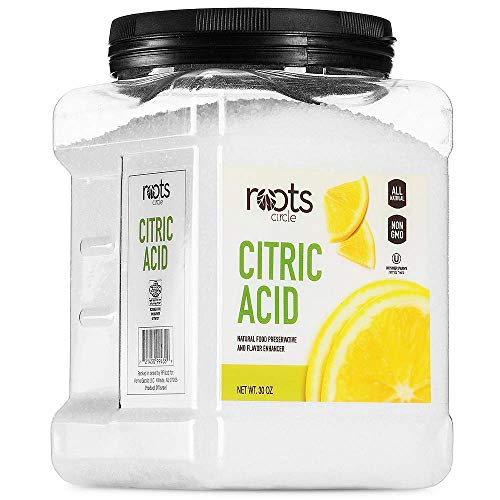 Roots Circle All-Natural Citric Acid   Food-Grade Flavor Enhancer, Household Cleaner & Preservative   Non-GMO, Kosher for Passover, Gluten-Free   For Skincare, Cooking, Baking, Bath Bombs   30oz