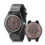 Engraved Wooden Watches for Dad - Casual Handmade Ebony Wood Watches for Father Customized Birthday Gifts