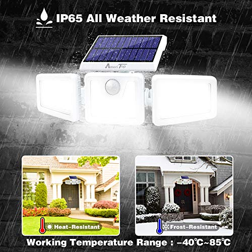 Solar Lights Outdoor -2 Pack, AmeriTop 800LM Wireless 128 LED Solar Motion Sensor Lights Outdoor; 3 Adjustable Heads, 270° Wide Angle Illumination, IP65 Waterproof, Security LED Flood Light - White