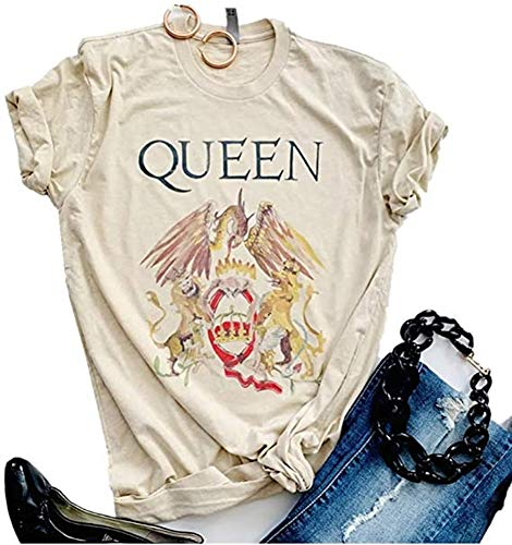Womens Vintage Queen Shirt Summer Cute Short Sleeve Casual Graphic Tees(M, Ayellow)