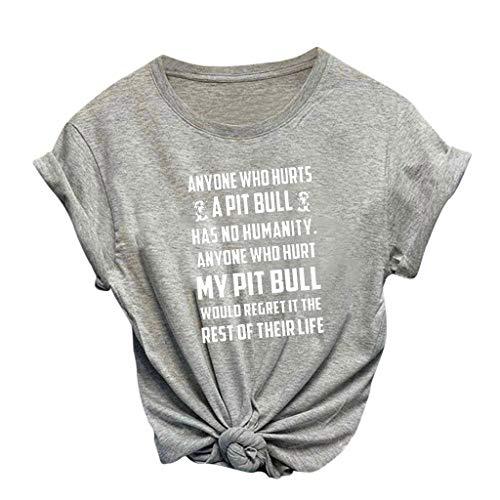 KIMODO Print Letters Kurzarm Frauen Damen Ladies Lose Rundhalsausschnitt O-Neck T-Shirt Halloween Bluse Tops Sommer Locker Oberteil Mode Brief Oberteile (D-Grau, X-Large)