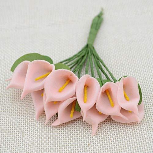 12st Mini schuim Calla Handmake kunstmatige bloemboeket bruiloft decoratie DIY krans geschenkdoos Scrapbooking Craft nep bloem, vlees roze