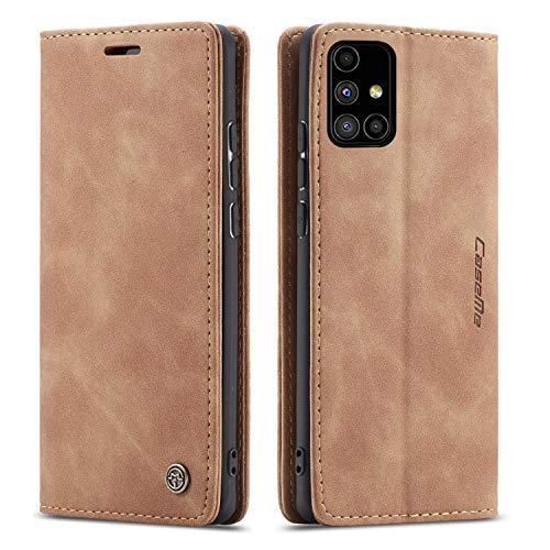 FMPC Handyhülle für Samsung Galaxy M51 Premium Lederhülle PU Flip Magnet Hülle Wallet Klapphülle Silikon Bumper Schutzhülle für Samsung Galaxy M51 Handytasche - Braun