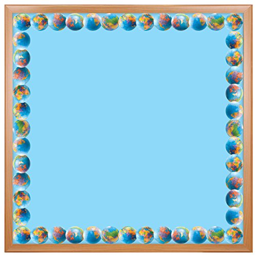 Hygloss Products Globes Die-Cut Bulletin Board Border – Classroom Decoration – 3 x 36 Inch, 12 Pack (33619)