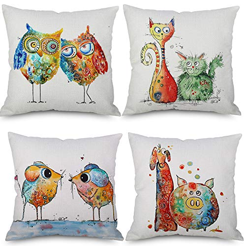 LoveHome Decor 4PCS NEW Carton Watercolor Printed Series Decorative Throw Pillow Covers, Animals Painting Owl Cat Pig with Adorkable Faces, Square Cushion for Sofa Couch,18 X 18 inch