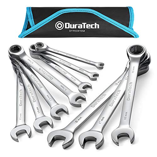 DURATECH Ratcheting Combination Wrench Set, Metric, 10-piece, 6-18mm, Chrome Vanadium Steel, with Carrying Bag