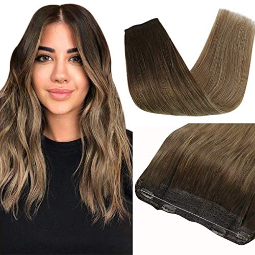 Sunny 16inch Remy Ombre Halo Human Hair Extensions Balayage Dark Brown Fading to Golden Brown Mixed with Blonde Wire Hair Extensions Human Hair Double Weft 80g