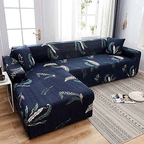 Fundas de sofá elásticas Impresas para Sala de Estar Funda de sofá Esquina en Forma de L Chaise Longue Sillón Sofá Funda A23 2 plazas