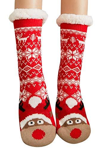 heekpek Damen Kuschelsocken Warme Wintersocken Cute Cartoon Muster Hausschuhsocken Anti Rutsch Noppen Socken Erwachsene Cartoon Teppich Socken (L)