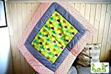 Handmade Baby Krabbeldecke Patchworkdecke 100x120cm weich gepolstert Grün Orange Herzen Vichy Karo Punkte
