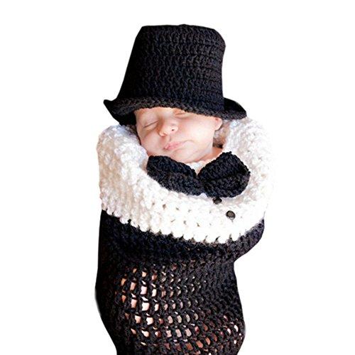 DELEY Garçons de Bébé Tricoté à la Main Gentleman Costume Costumes de Bébé de Vêtements Tenue Sac de Couchage Photo Accessoires de 0 à 6 Mois