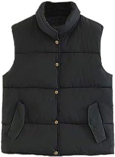 Christor Men's Loose Down Vest Multi Pocket Stand Collar Lightweight Waistcoat Jacket for Autumn Winter Outdoors Unisex