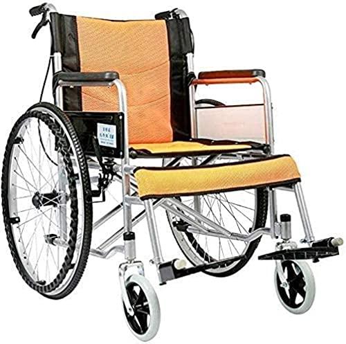Silla de Ruedas Confort Ligero Luz Transporte Plegable Portátil Silla de Viaje Anciano Discapacitada Caminante Aluminio Alloy Manual Steel (Color : Naranja)