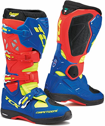 9662 - TCX Comp Evo 2 Michelin Motocross Boots 45 Red Bright Blue Yellow Fluo (UK 10)